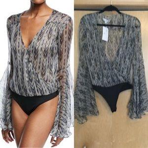 Caroline Constas Bell-Sleeve  Printed Bodysuit